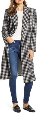Double Breasted Gingham Long Coat