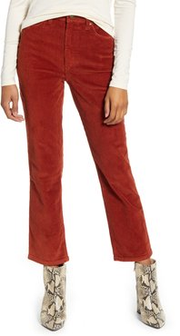 High Waist Straight Leg Corduroy Ankle Pants
