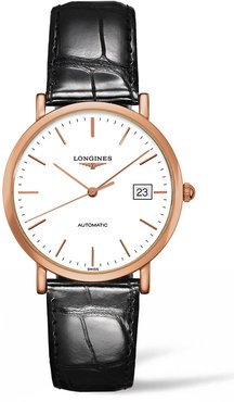 Elegant Automatic Leather Strap Watch, 37Mm