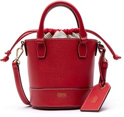 Small Boarskin Leather Buckle Crossbody Bag - Red