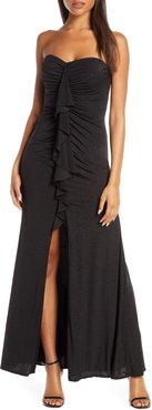 Cascading Ruffle Strapless Gown
