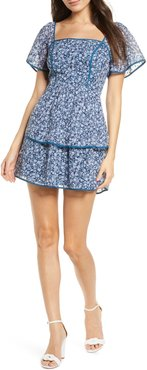 Country Mart Floral Tiered Chiffon Minidress