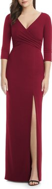 Crisscross Stretch Crepe Evening Gown