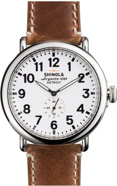 'The Runwell' Leather Strap Watch, 47Mm