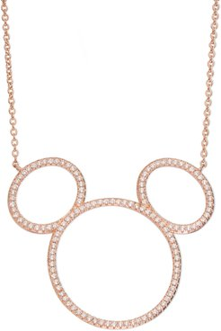 Mickey Mouse Open Silhouette Rose Gold & Crystal Pendant Necklace