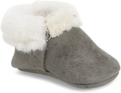Infant Freshly Picked Blue Spruce Genuine Shearling & Leather Moccasin