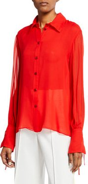 Tie-Sleeve Silk Button-Front Blouse