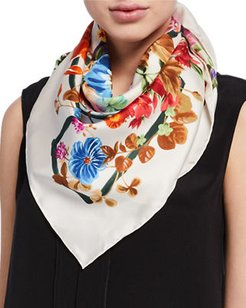 Fiorile Floral-Printed Silk Scarf