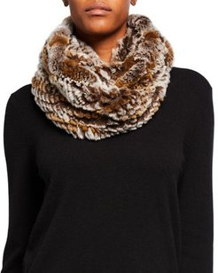 Knitted Snow Top Rabbit Fur Infinity Scarf