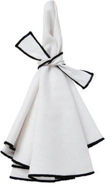 Napa Napkins with Colorful Hems and Matching Bows, Set of 4
