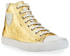 Bedford Metallic Leather High-Top Sneakers