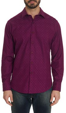 Keaton Patterned Sport Shirt with Contrast Detail