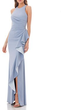 Crepe Halter Gown with Side Ruffle