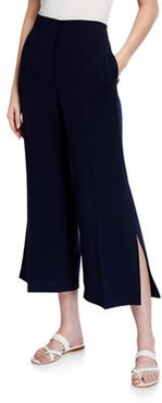 Downing Cropped Side Slit Finesse Crepe Pants