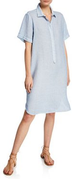 Short-Sleeve Linen Pocket Shirtdress