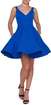 Sleeveless V-Neck Fit-and-Flare Dress w/ Dramatic Skirt