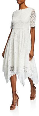 Jewel-Neck Elbow-Sleeve Lace Dress w/ Handkerchief-Hem