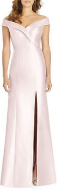 Off-the-Shoulder Short-Sleeve Gown with Slit
