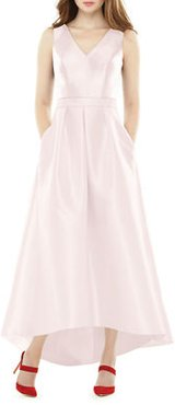 V-Neck Sleeveless High-Low Sateen Twill Gown