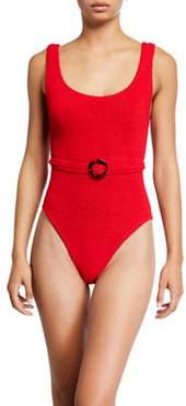 Solitaire Belted Scoop-Neck One-Piece Swimsuit