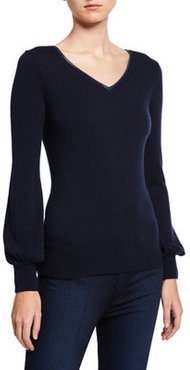 Cashmere Blouson-Sleeve V-Neck Sweater w/ Metallic Trim
