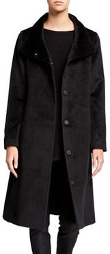 Luxe Baby Alpaca High-Collar Button-Front Coat