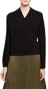 Wrap Front Long Sleeve Cashmere Pullover Sweater