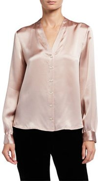 Hammered Silk High-Back Band-Collar Shirt