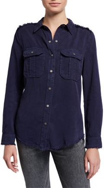 Frayed Snap-Front Utility Shirt