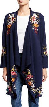 Plus Size Isla Floral Embroidered Draped Cardigan