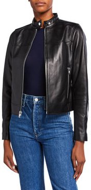 Tab-Collar Lamb Leather Jacket
