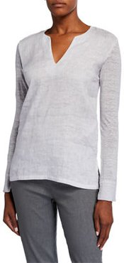 V-Neck Long-Sleeve Jersey Back Woven Top
