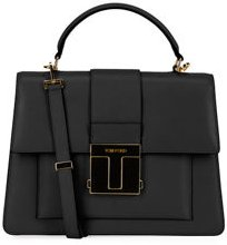 Small Leather Top-Handle Bag with Golden Hardware