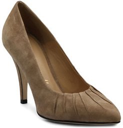Ruched Suede Pumps