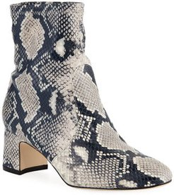 Niki Stretch Python-Print Leather Booties