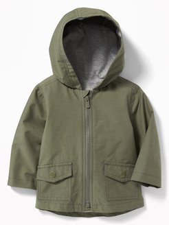 Water-Resistant Hooded Utility Jacket for Baby