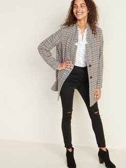 Textured Houndstooth Coat for Women