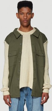 Contrast Panel Sweater in Green size One Size