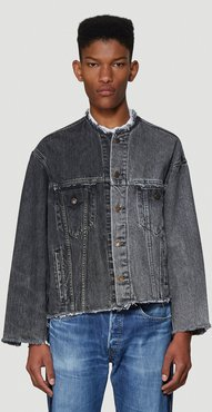 Contrast Panel Denim Jacket in Grey size One Size