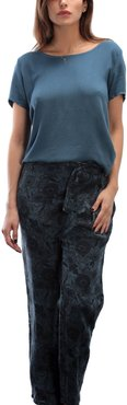 Linen Printed Pant 36-floral Green