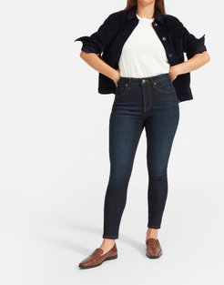 Curvy Authentic Stretch High-Rise Skinny Jean by Everlane in Dark Blue Wash, Size 23