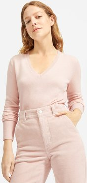 Cashmere V-Neck Sweater by Everlane in Rose, Size XL