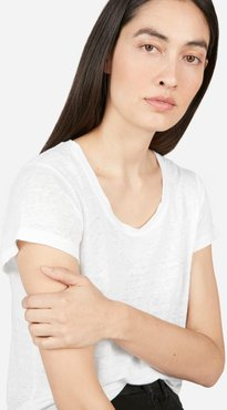 Linen Scoop-Neck T-Shirt by Everlane in White, Size XXS
