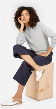 Cotton Mockneck Crop Sweater by Everlane in Heather Grey, Size S