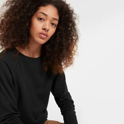 Lightweight French Terry Crew Sweater by Everlane in Washed Black, Size XS