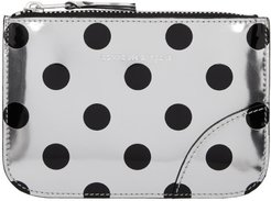 Silver and Black Polka Dot Small Zip Pouch