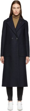 Navy Pressed Wool Boxy Duster Coat