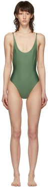 Green Thin Strap One-Piece Swimsuit
