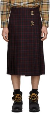 Navy and Red Wool Arroux Kilt
