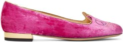 Pink Velvet Peaceful Kitty Loafers